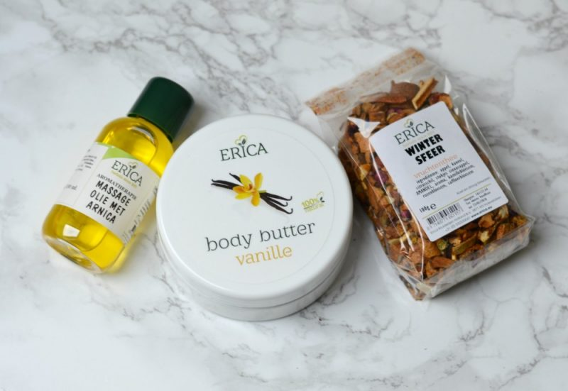 Erica body butter, massage olie en vruchtenthee